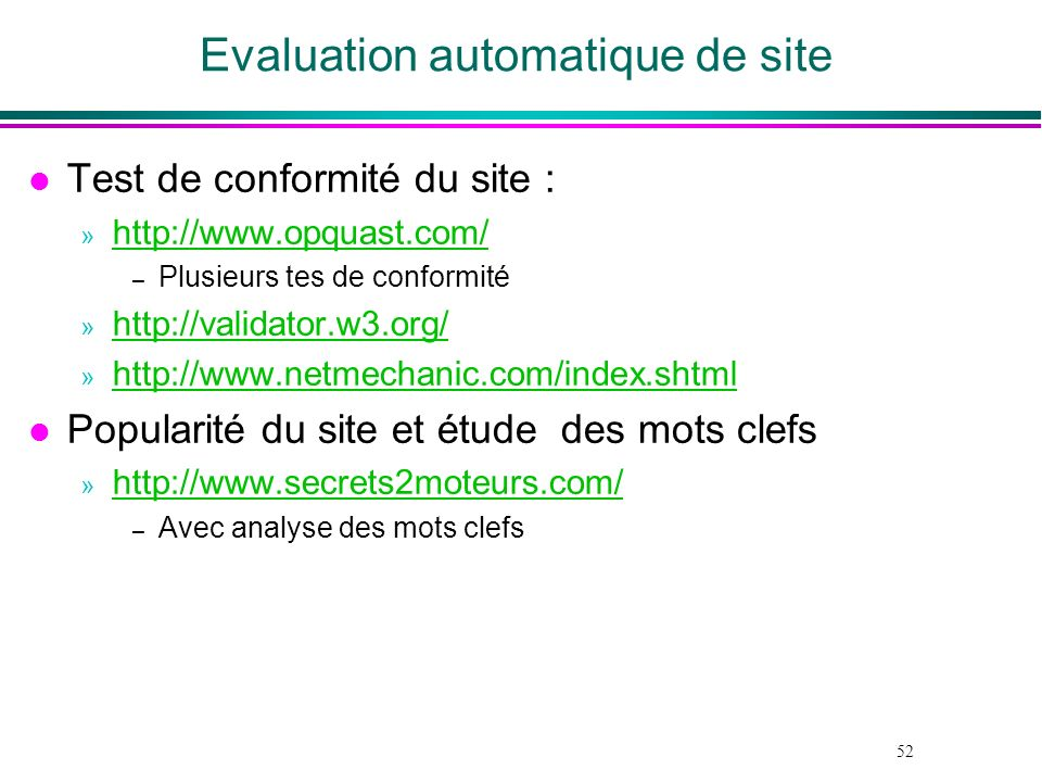 Evaluation automatique de site