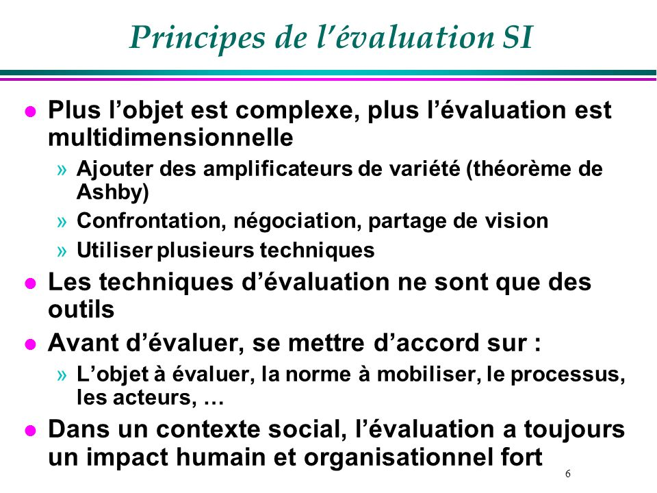 Principes de l'évaluation SI