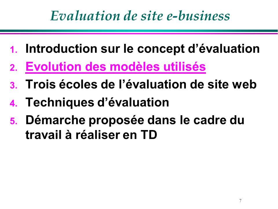 Evaluation de site e-business