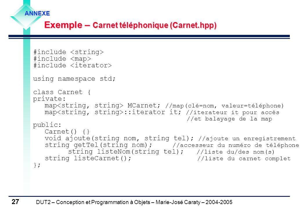 Exemple – Carnet téléphonique (Carnet.hpp)
