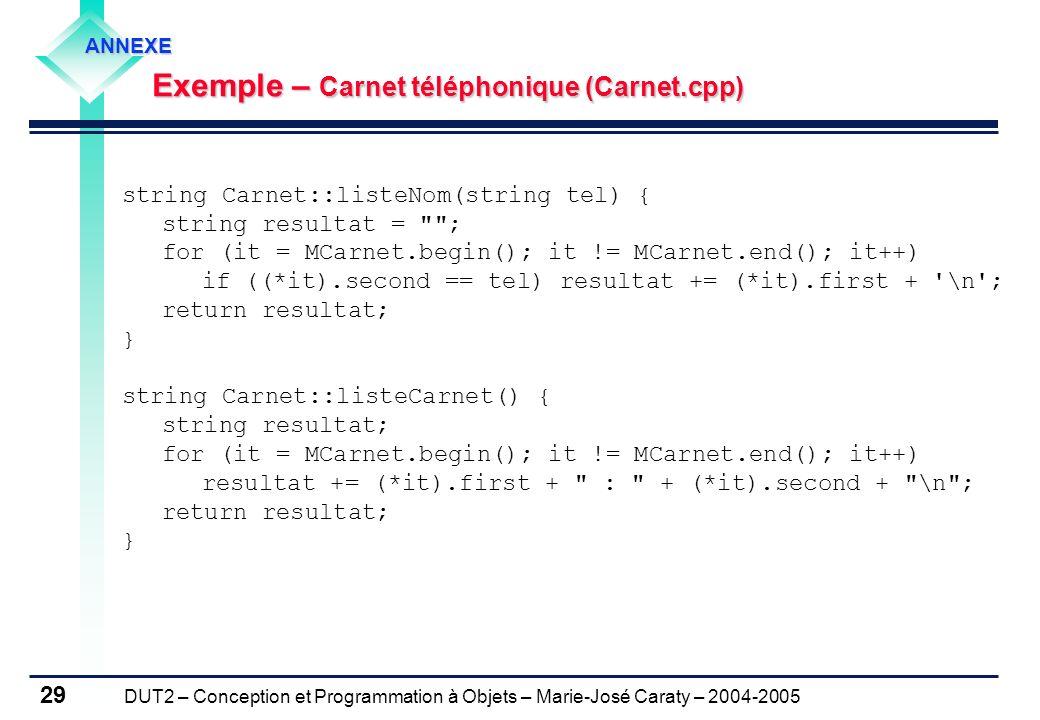 Exemple – Carnet téléphonique (Carnet.cpp)