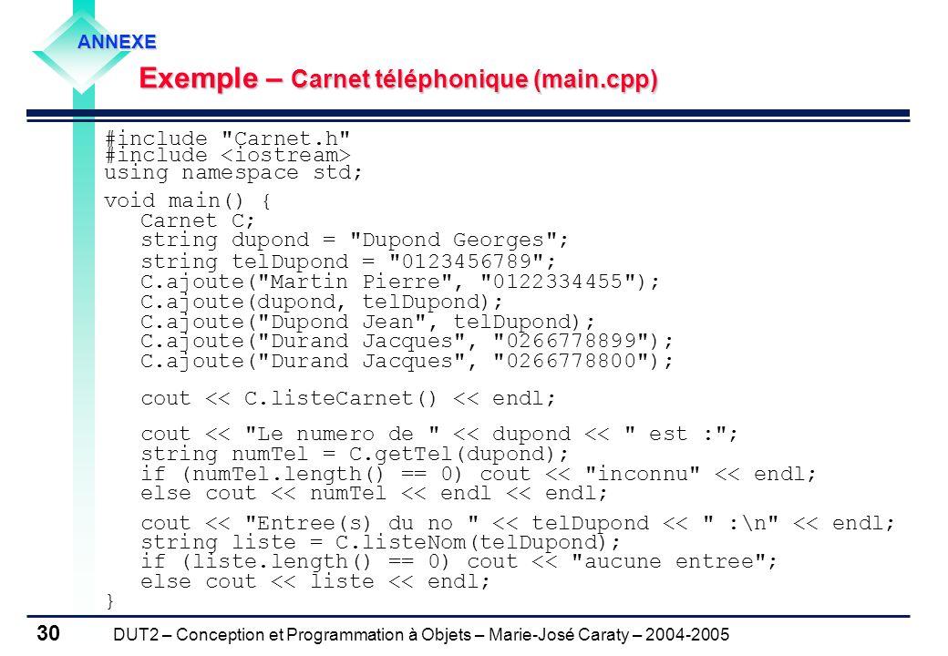 Exemple – Carnet téléphonique (main.cpp)