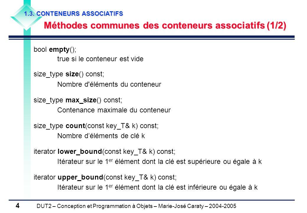 Méthodes communes des conteneurs associatifs (1/2)