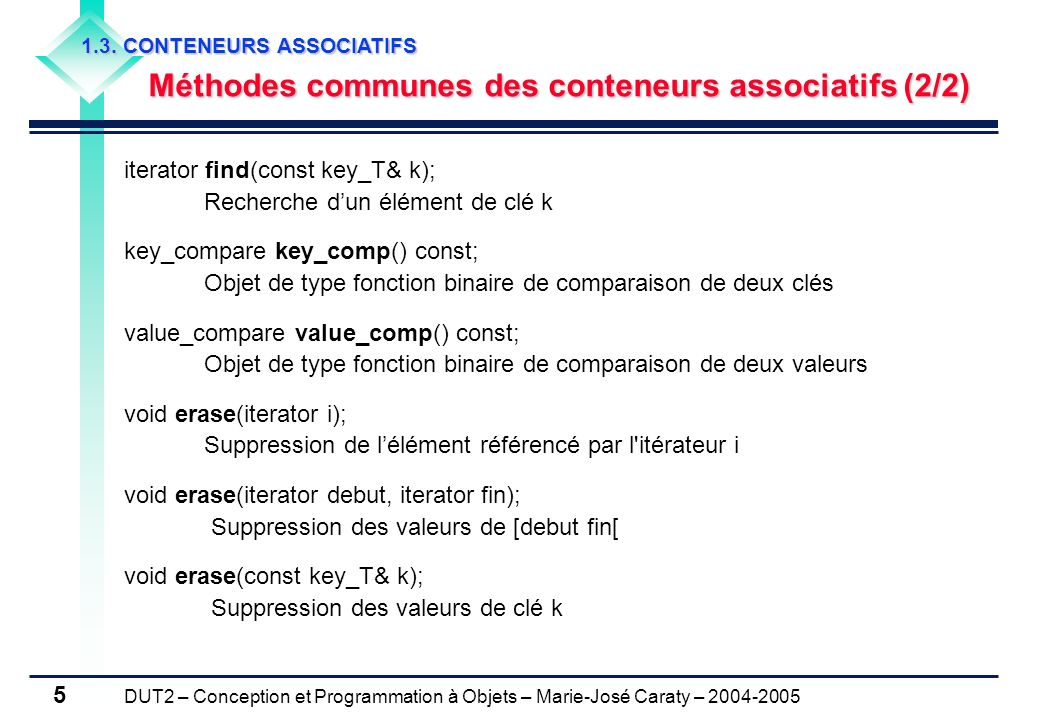 Méthodes communes des conteneurs associatifs (2/2)