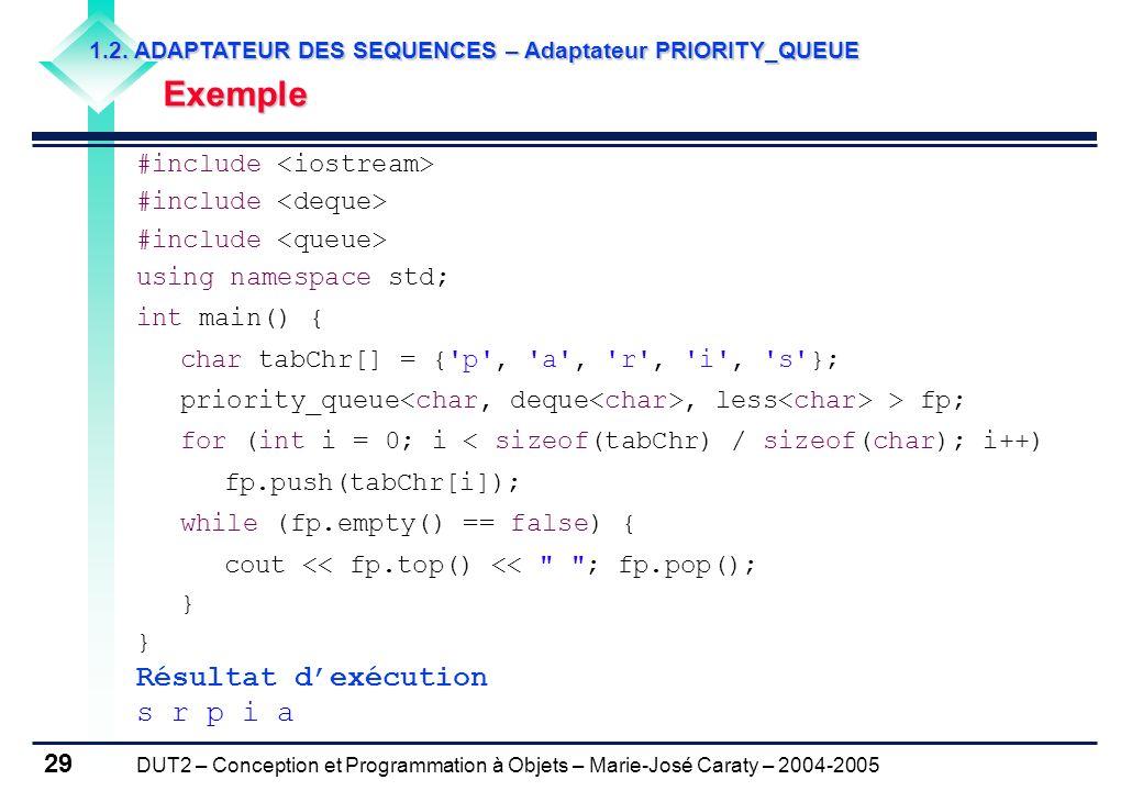 Résultat d'exécution s r p i a Exemple #include <iostream>