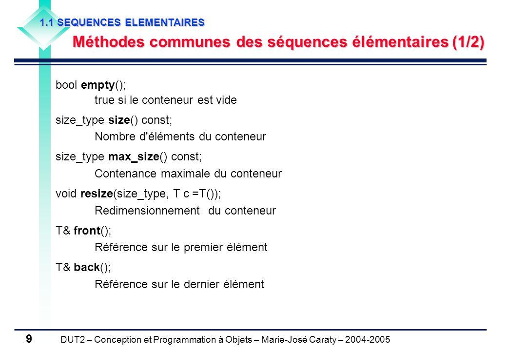 Méthodes communes des séquences élémentaires (1/2)