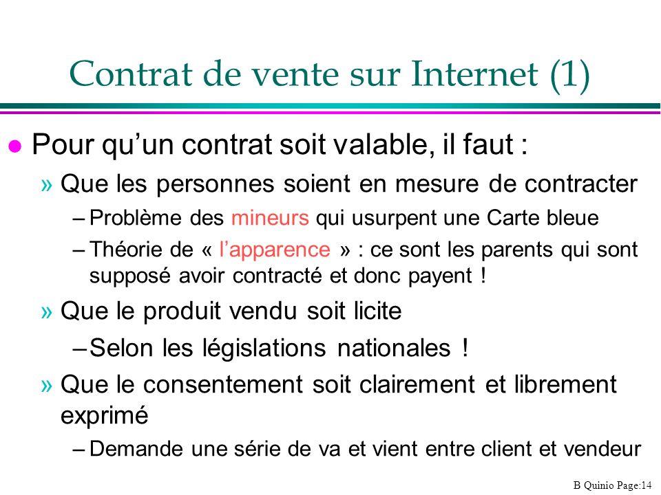 Contrat de vente sur Internet (1)
