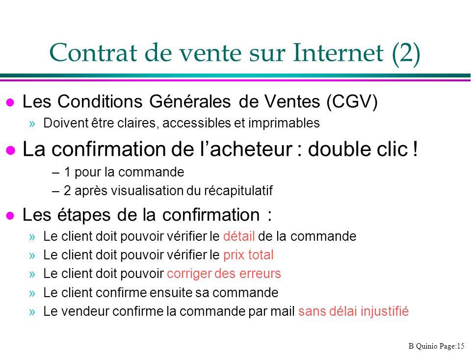 Contrat de vente sur Internet (2)