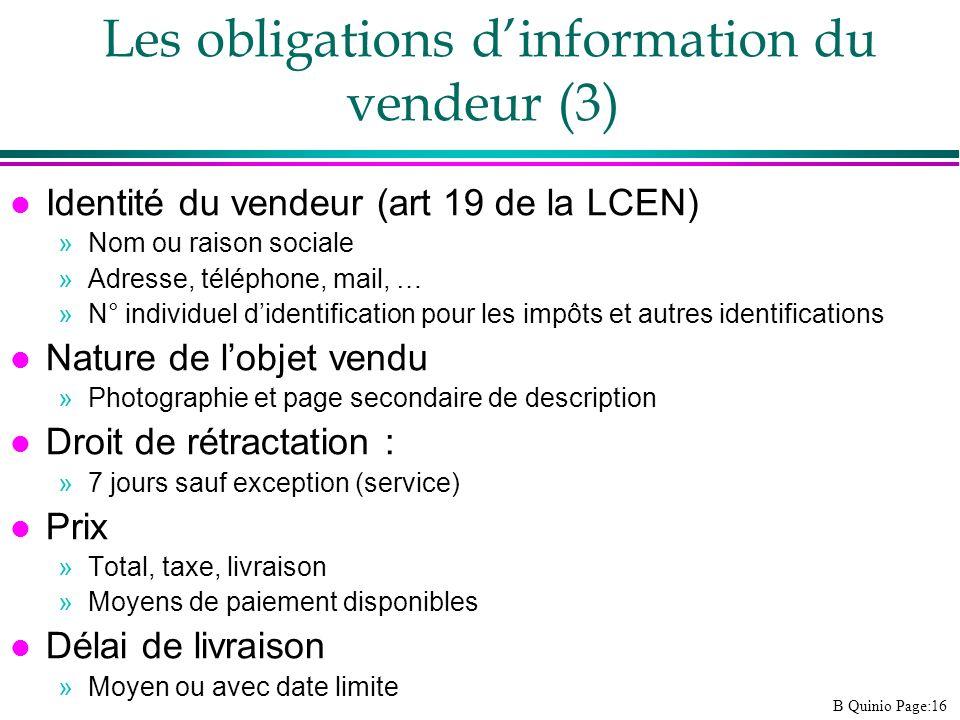 Les obligations d'information du vendeur (3)