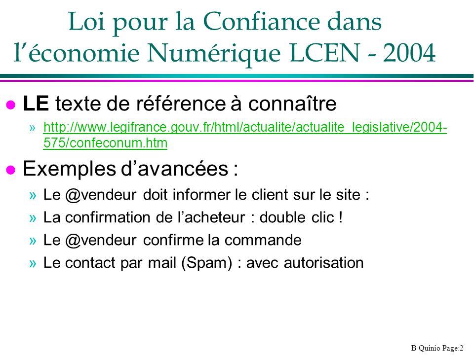 Loi pour la Confiance dans l'économie Numérique LCEN - 2004