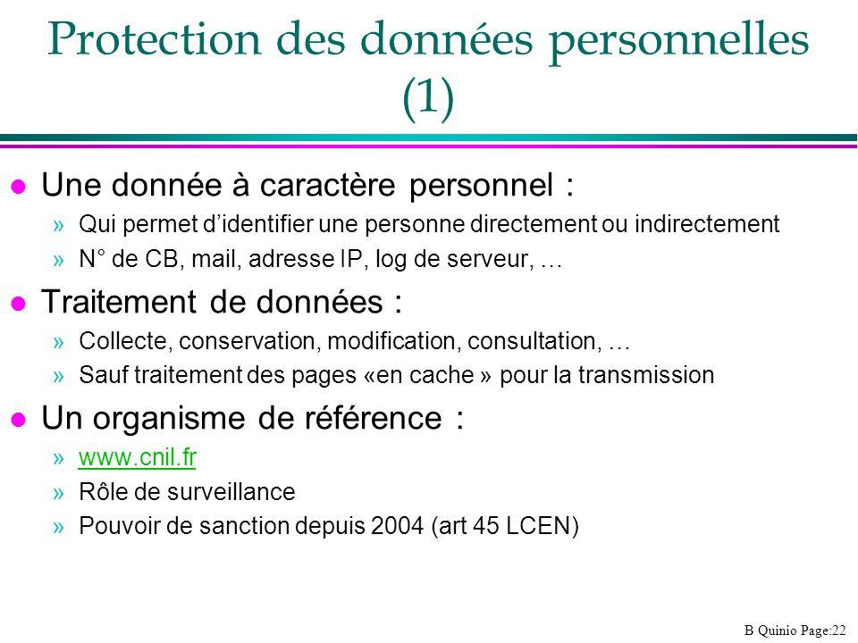 Protection des données personnelles (1)