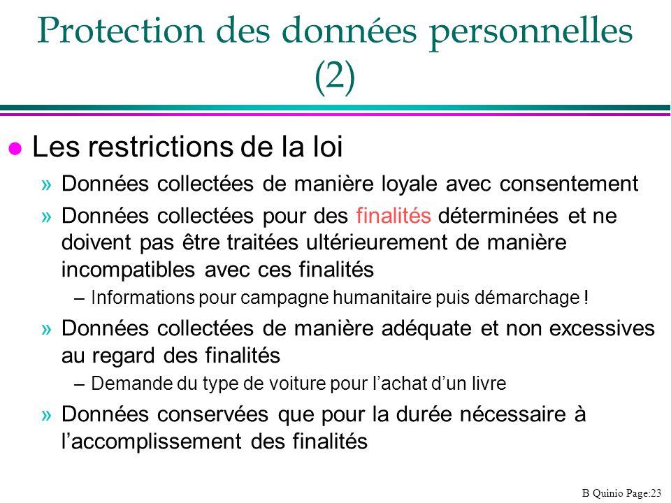 Protection des données personnelles (2)