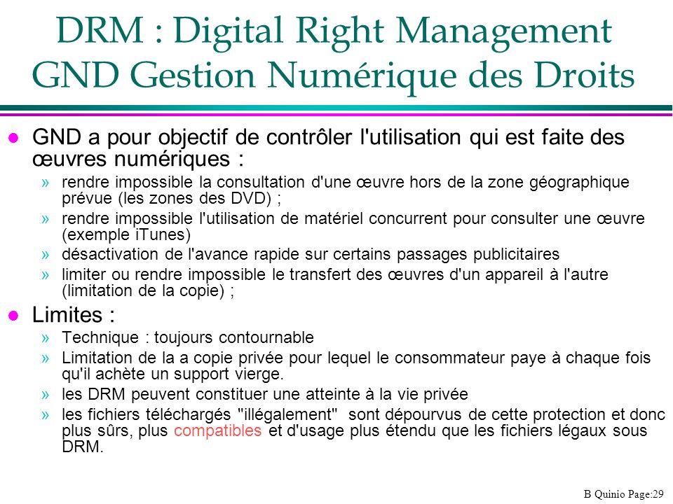DRM : Digital Right Management GND Gestion Numérique des Droits