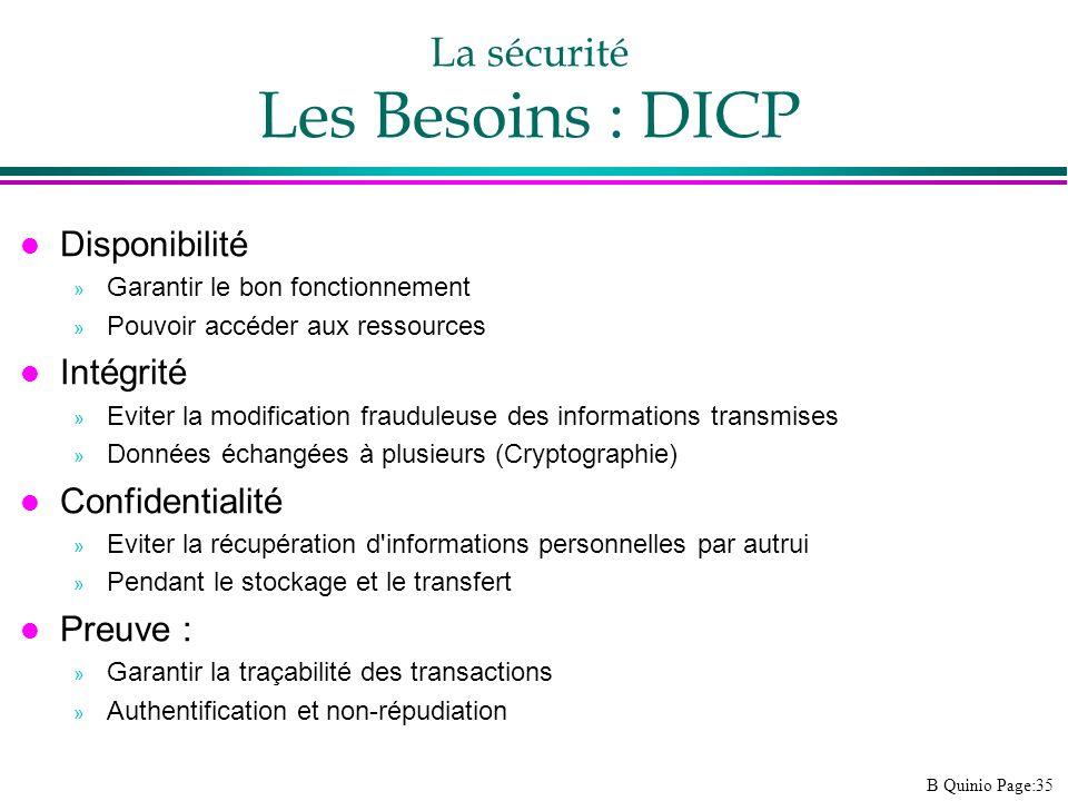 La sécurité Les Besoins : DICP