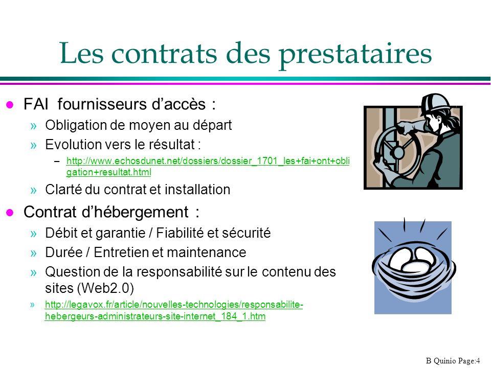 Les contrats des prestataires