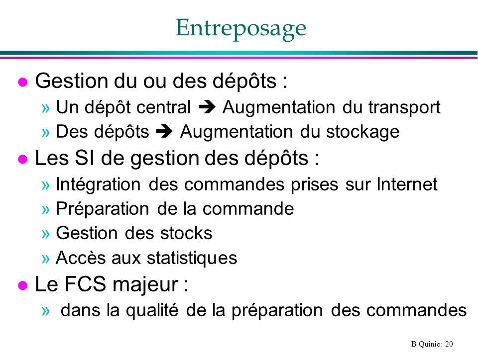 Entreposage Gestion du ou des dépôts : Les SI de gestion des dépôts :