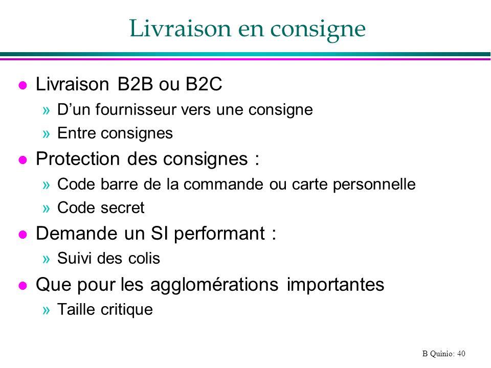 Livraison en consigne Livraison B2B ou B2C Protection des consignes :
