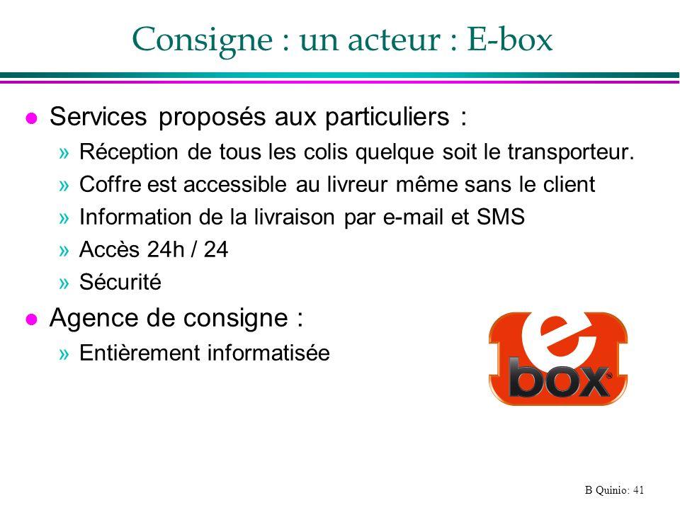 Consigne : un acteur : E-box