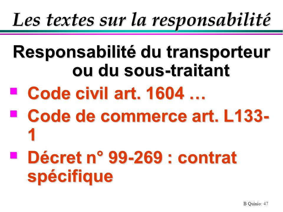 Les textes sur la responsabilité