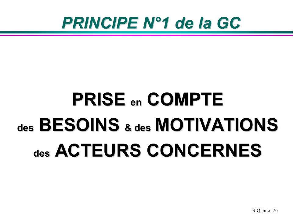 des BESOINS & des MOTIVATIONS