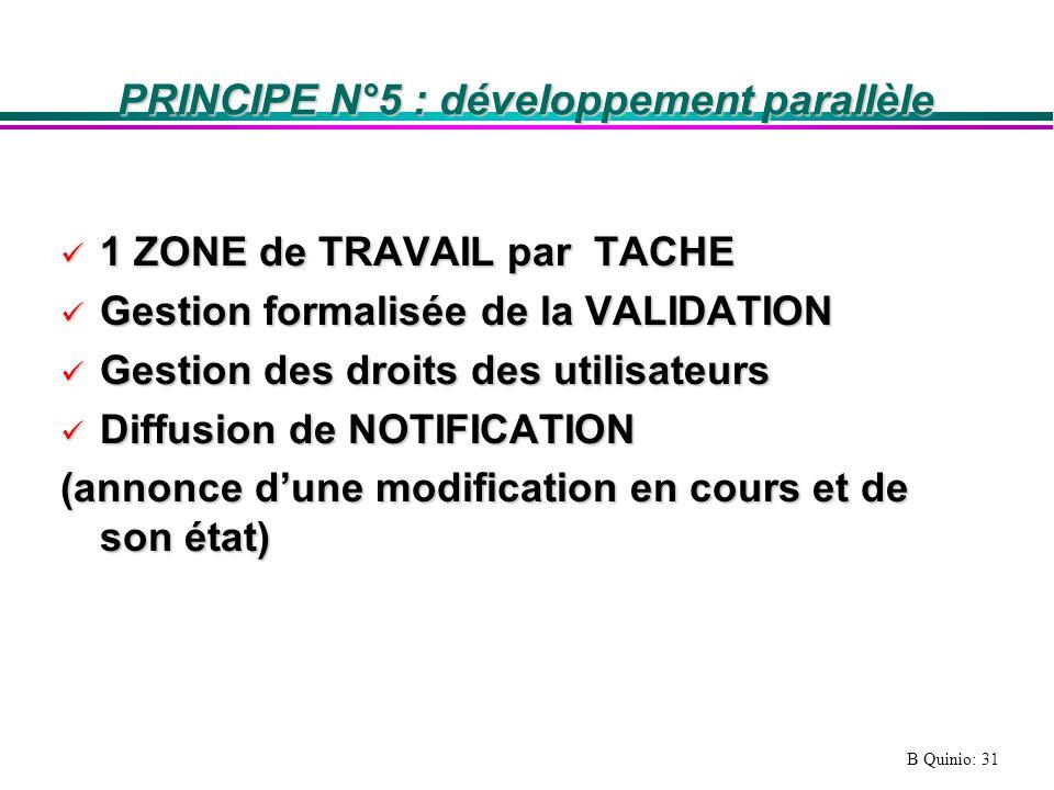 PRINCIPE N°5 : développement parallèle