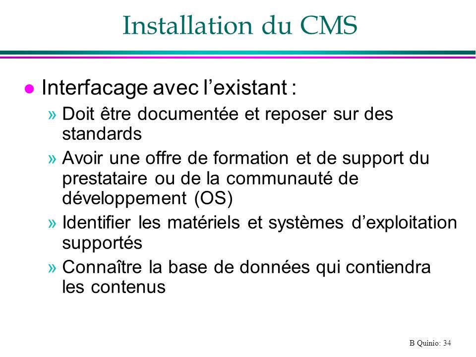 Installation du CMS Interfacage avec l'existant :