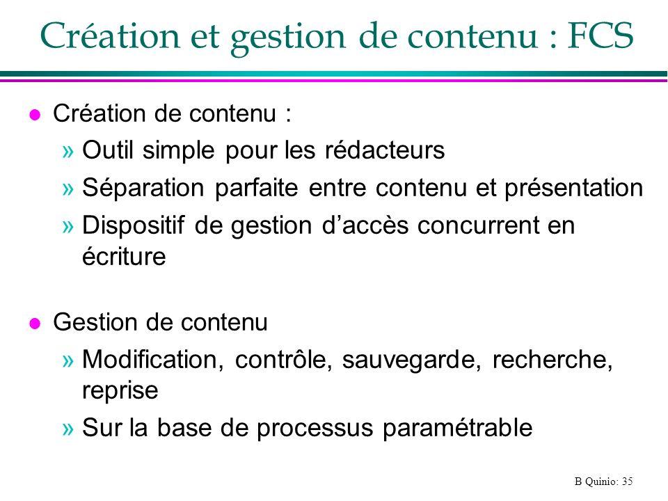 Création et gestion de contenu : FCS
