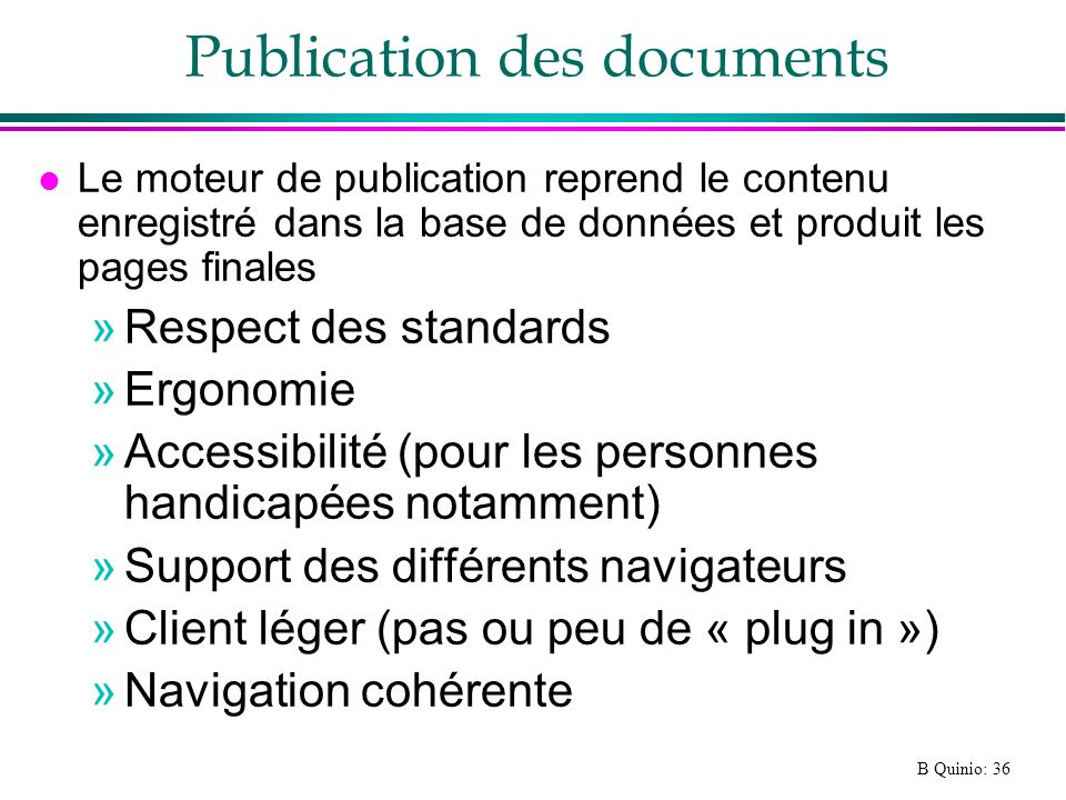 Publication des documents