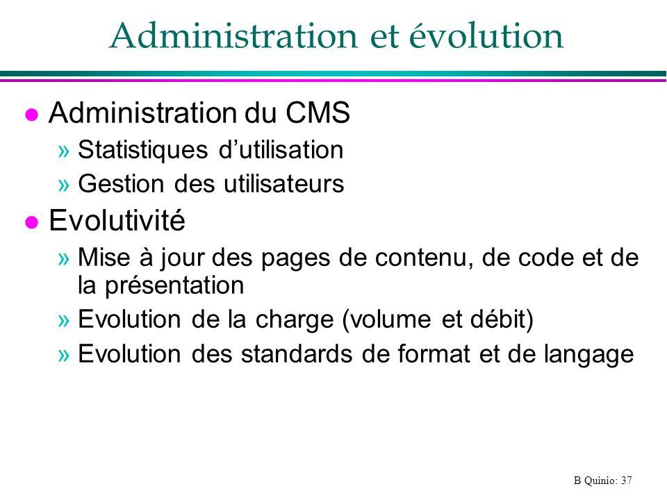 Administration et évolution