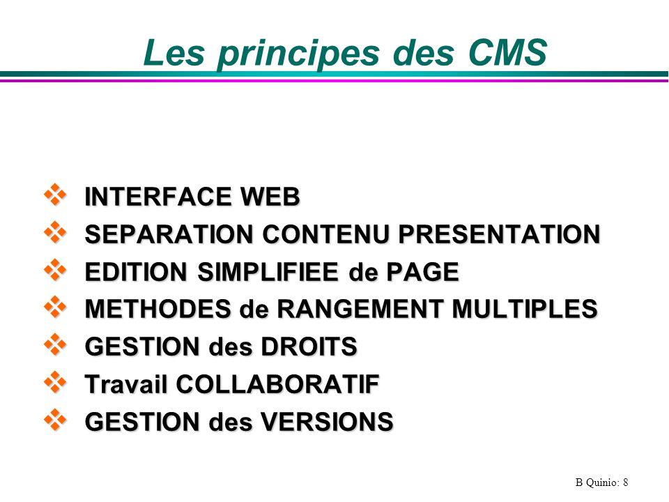 Les principes des CMS INTERFACE WEB SEPARATION CONTENU PRESENTATION