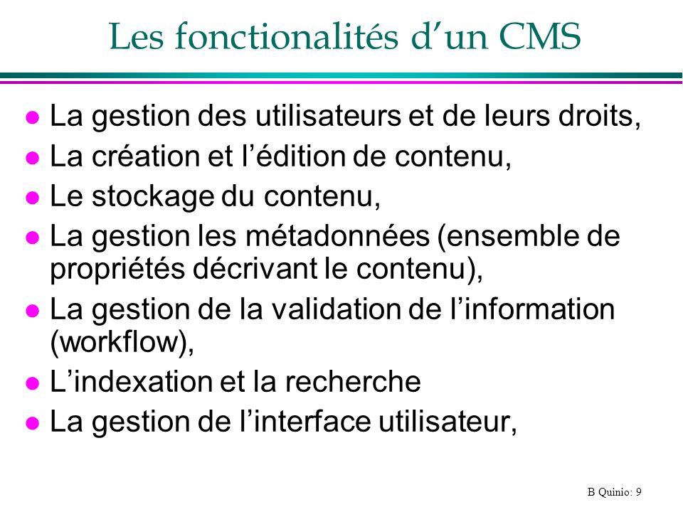 Les fonctionalités d'un CMS