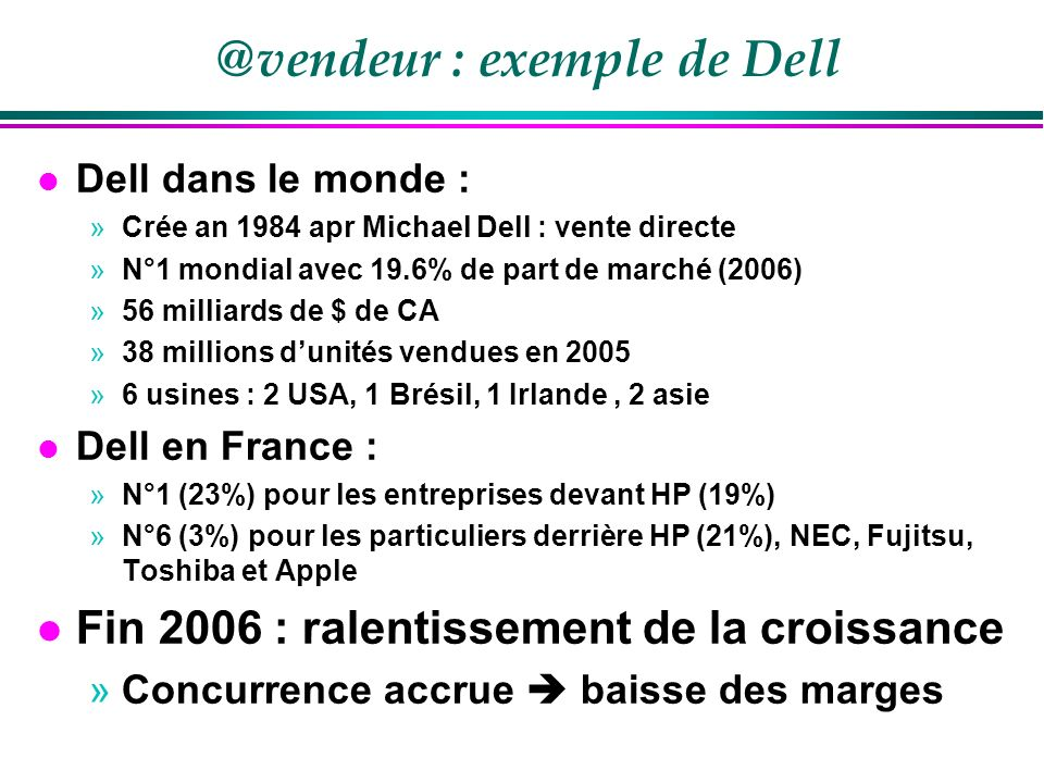 @vendeur : exemple de Dell