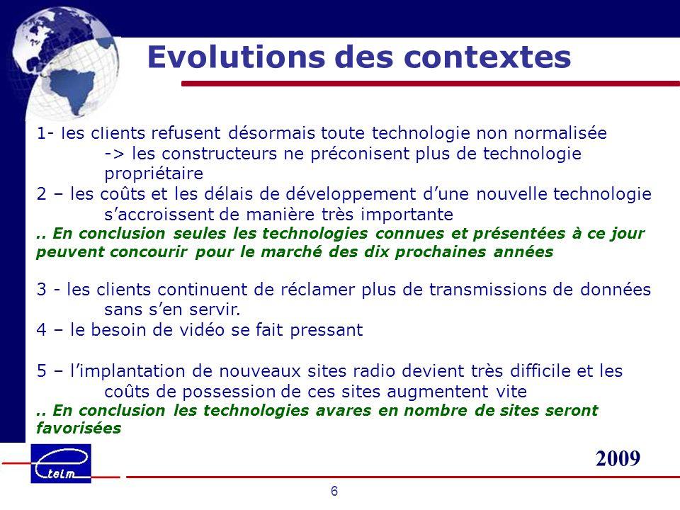 Evolutions des contextes