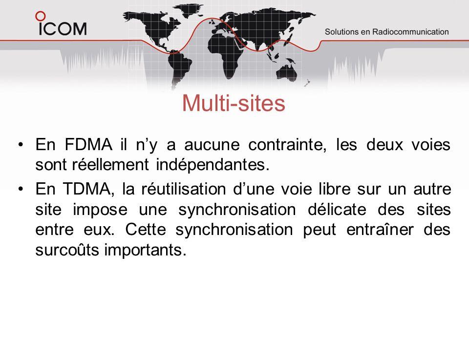 Multi-sites En FDMA il n'y a aucune contrainte, les deux voies sont réellement indépendantes.