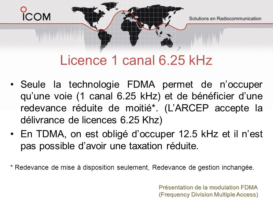 Licence 1 canal 6.25 kHz