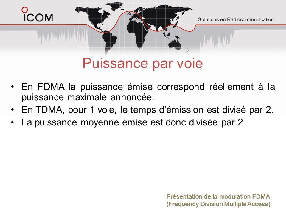 Puissance par voie En FDMA la puissance émise correspond réellement à la puissance maximale annoncée.