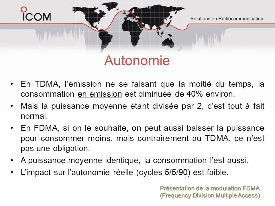 Autonomie En TDMA, l'émission ne se faisant que la moitié du temps, la consommation en émission est diminuée de 40% environ.