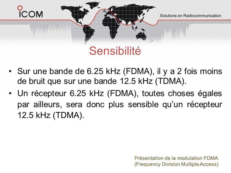 Sensibilité Sur une bande de 6.25 kHz (FDMA), il y a 2 fois moins de bruit que sur une bande 12.5 kHz (TDMA).