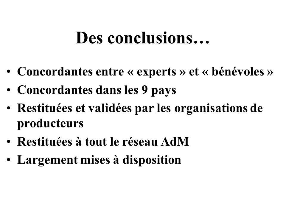 Des conclusions… Concordantes entre « experts » et « bénévoles »