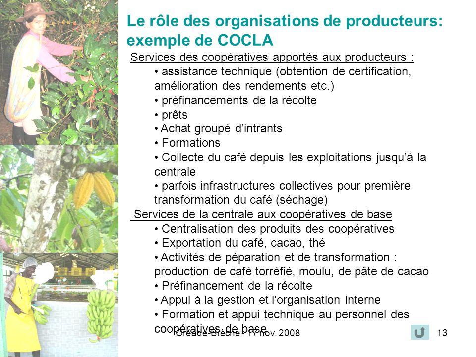 Le rôle des organisations de producteurs: exemple de COCLA