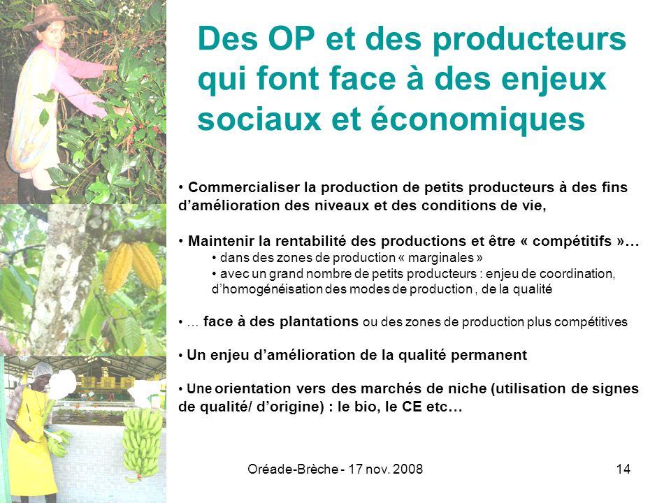 Des OP et des producteurs qui font face à des enjeux sociaux et économiques