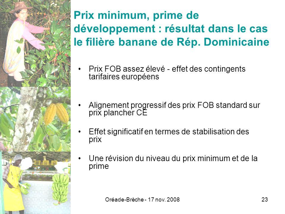 Prix minimum, prime de développement : résultat dans le cas le filière banane de Rép. Dominicaine