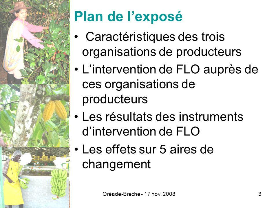 Plan de l'exposé Caractéristiques des trois organisations de producteurs. L'intervention de FLO auprès de ces organisations de producteurs.