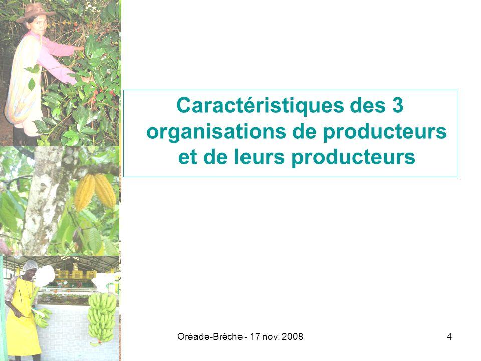 Caractéristiques des 3 organisations de producteurs et de leurs producteurs