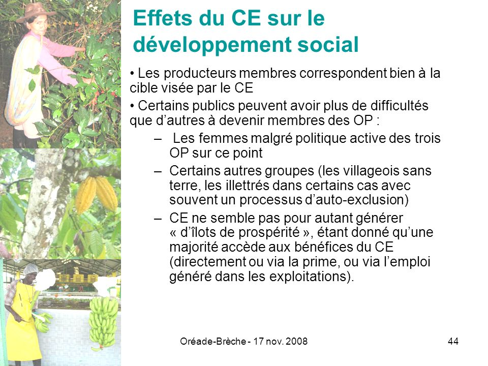 Effets du CE sur le développement social