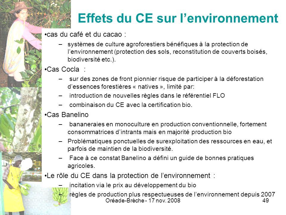 Effets du CE sur l'environnement