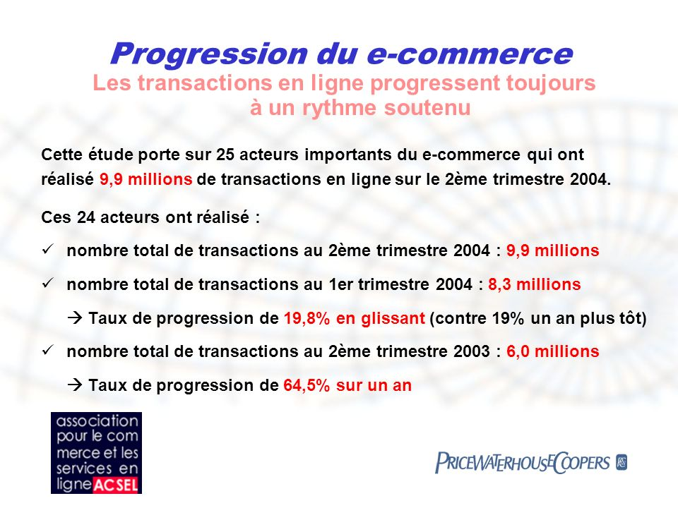 Progression du e-commerce