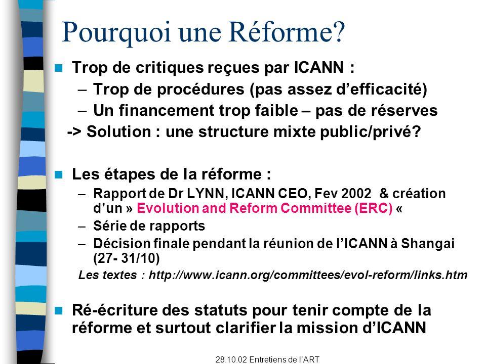 Pourquoi une Réforme Trop de critiques reçues par ICANN :