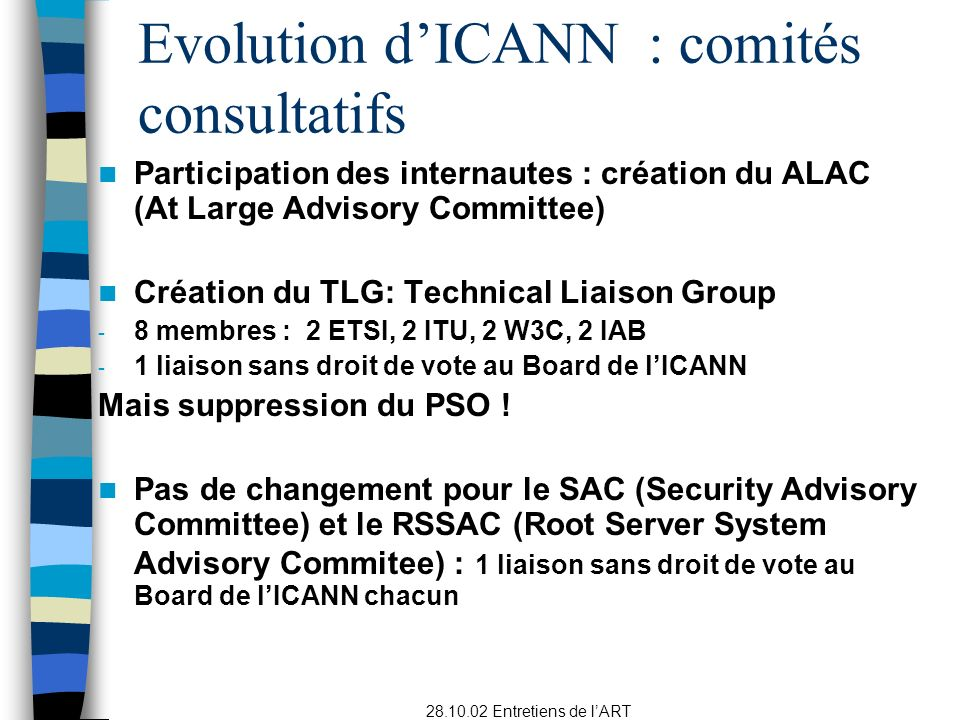 Evolution d'ICANN : comités consultatifs