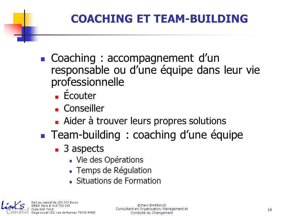 COACHING ET TEAM-BUILDING